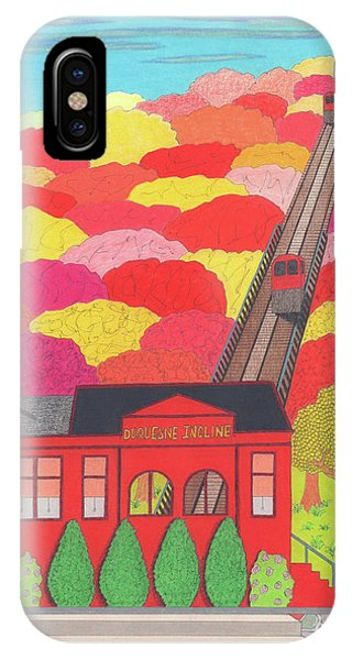 IPhone Case featuring the drawing Duquesne Incline by John Wiegand