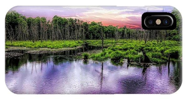 Dusk Falls Over New England Beaver Pond. IPhone Case