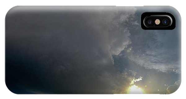Nebraskasc iPhone Case - Dying Nebraska Thunderstorms At Sunset 010 by NebraskaSC