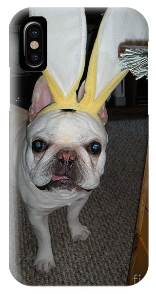 French Bull Dog iPhone Case - Easter Bunny by Barbra Telfer