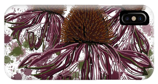 Echinacea Flowers Line IPhone Case