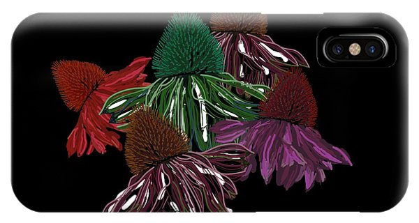 Echinacea Flowers With Black IPhone Case