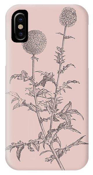 Bouquet iPhone X Case - Echinopos Blush Pink Flower by Naxart Studio