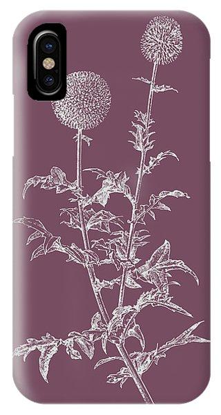 Bouquet iPhone X Case - Echinopos Purple Flower by Naxart Studio