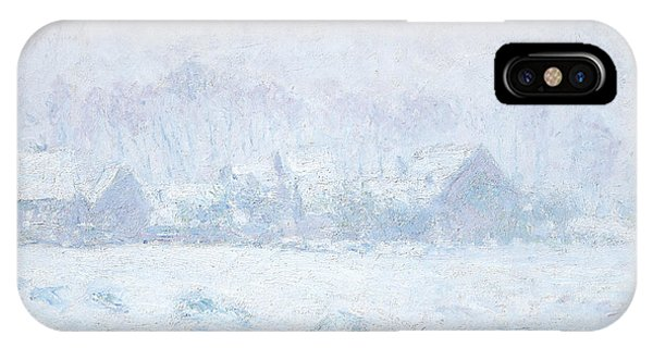 Barn Snow iPhone Case - Effet De Neige A Giverny by Claude Monet