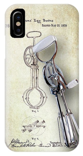 Eggs iPhone Case - Eggbeater With Antique Eggbeater Patent by Tom Mc Nemar