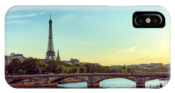 Travel Destination iPhone Case - Eiffel Tower And Seine River Panoramic by Hipgnosis
