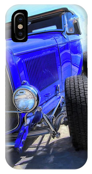 Electric Blue Hot Rod Roadster IPhone Case