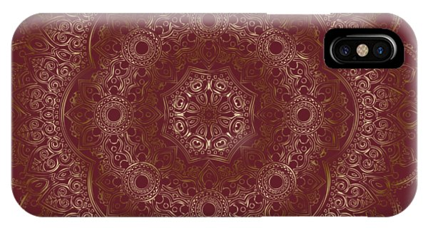 IPhone Case featuring the painting Elegant Golden Mandala Buddhist Symbol by Georgeta Blanaru