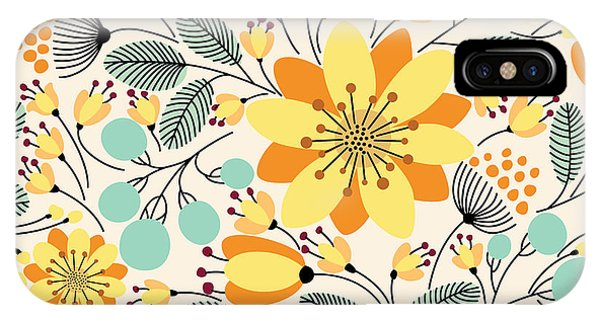 Floral Arrangement iPhone Case - Elegant Seamless Pattern With Yellow by Maria galybina