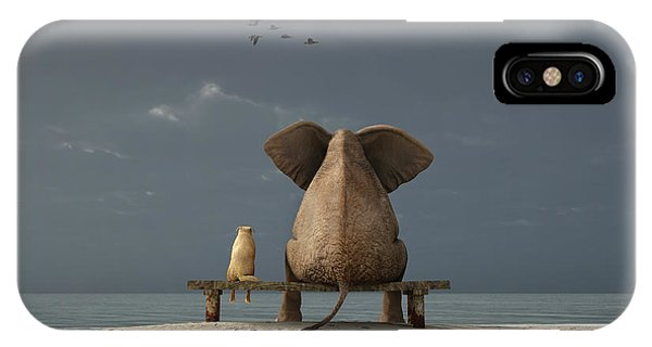Small Dog iPhone Case - Elephant And Dog Sit On A Beach by Photobank Gallery