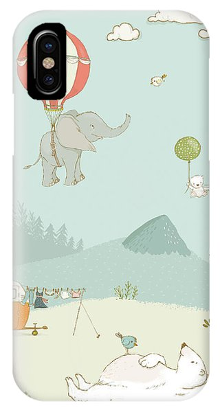 IPhone Case featuring the photograph Elephant And Polar Bear Whimsical Art For Kids by Matthias Hauser