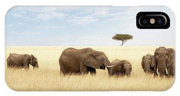 iPhone Case - Elephant Group In The Grassland Of The Masai Mara by Jane Rix