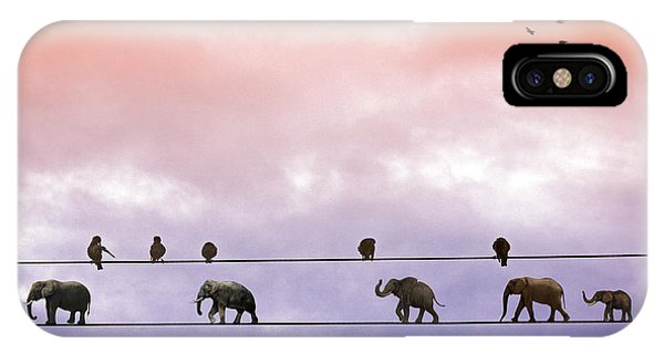 Elephants On The Wires IPhone Case
