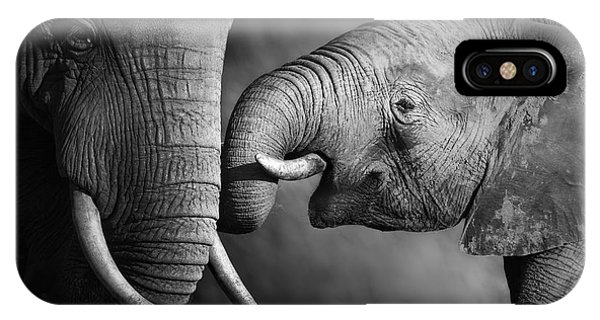 Reach iPhone Case - Elephants Showing Affection Artistic by Johan Swanepoel