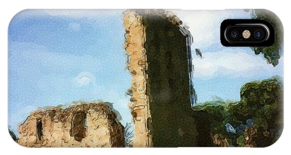 Elgin Cathedral Ruins Painting IPhone Case