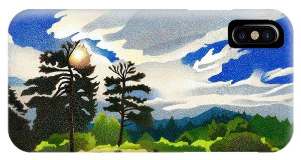 IPhone Case featuring the drawing Elk Ridge Twilight by Dan Miller