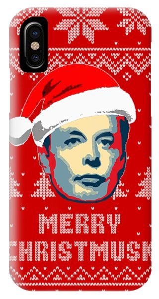 Winter Fun iPhone Case - Elon Musk Merry Christmusk by Filip Hellman