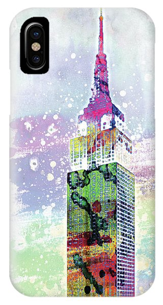 Empire State Building iPhone Case - Empire State Building Colorful Watercolor by Mihaela Pater