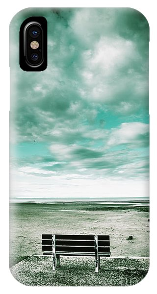 Park Bench iPhone Case - Empty Beach Bench by Jorgo Photography - Wall Art Gallery