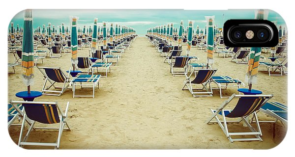 Empty Beach Scenery With Deckchairs And Phone Case by Anastazzo