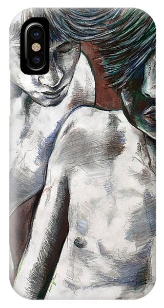 IPhone Case featuring the painting Entanged Boys by Rene Capone