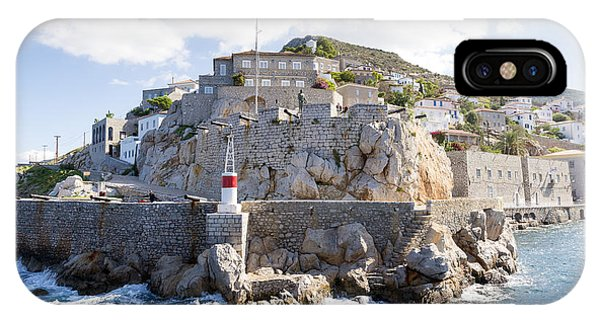 Lighthouse iPhone Case - Entry To Harbour Hydra, A Greek Island by Villorejo