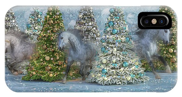 Winter Fun iPhone Case - Equine Holiday Spirits by Betsy Knapp
