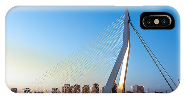 Swan iPhone Case - Erasmus Bridge Over The River Meuse In by Vichie81