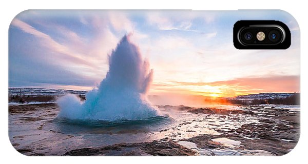 Hot iPhone Case - Eruption Of Strokkur Geyser In Iceland by Zinaidasopina