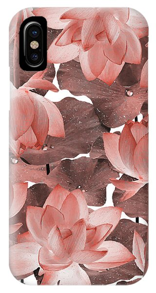 Violet iPhone Case - Ethereal Red Lotus Flower - Tropical, Botanical Art - Red Water Lily - Lotus Pattern - Red, Brown by Studio Grafiikka