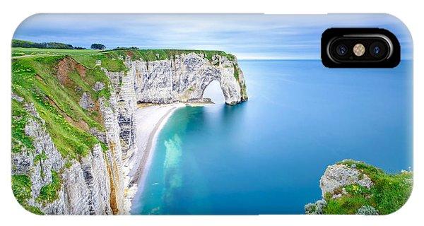 French Landscape iPhone Case - Etretat, La Manneporte Natural Rock by Stevanzz