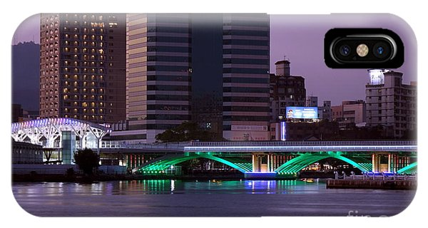 IPhone Case featuring the photograph Evening View Of The Love River And Illuminated Bridge by Yali Shi