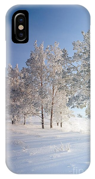 Snowy Road iPhone Case - Evening Winter Landscape With Pines On by Deserg
