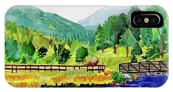 IPhone Case featuring the painting Evergreen Lake Spring Watercolor by Dan Miller