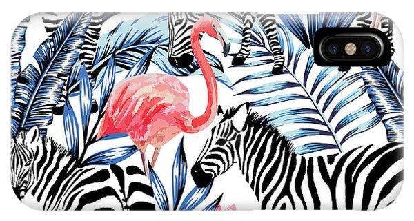 Exotic Pink Flamingo, Zebra On Phone Case by Berry2046