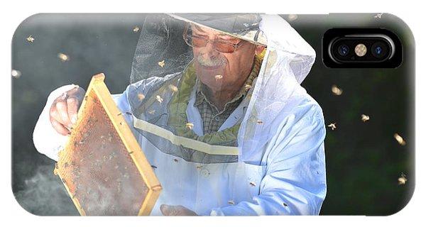 Adult iPhone Case - Experienced Senior Beekeeper Making by Darios