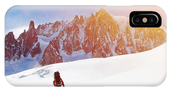 Strength iPhone Case - Extreme Sport. Lone Hikers In Winter by Vixit