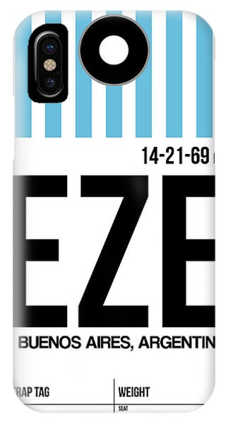 Argentina iPhone X Case - Eze Buenos Aires Luggage Tag I by Naxart Studio