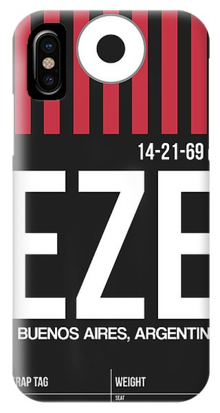 Argentina iPhone X Case - Eze Buenos Aires Luggage Tag II by Naxart Studio