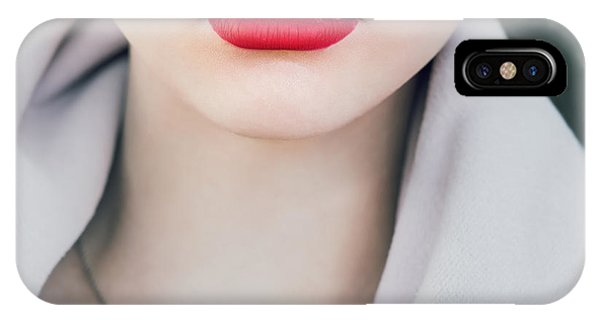 Open iPhone Case - Face Of A Beautiful Girl With Red Lips by Aleshyn andrei