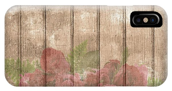 Faded Red Country Roses On Wood IPhone Case