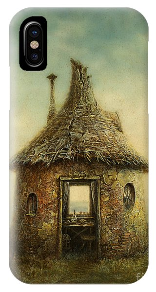 Small iPhone Case - Fairy Tale House, Painted With Acrylic by Slava Gerj
