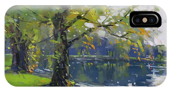 Waterscape iPhone Case - Fall At Bond Lake Park by Ylli Haruni