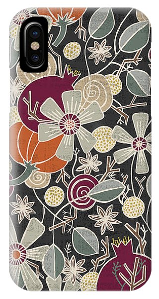 Fall Botanical Art Black Background IPhone Case