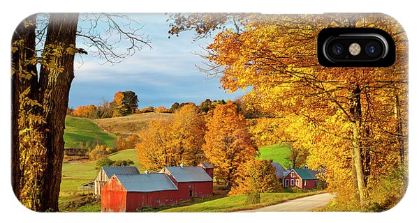 New England Barn iPhone Case - Fall Dawn In Vermont by Brian Jannsen