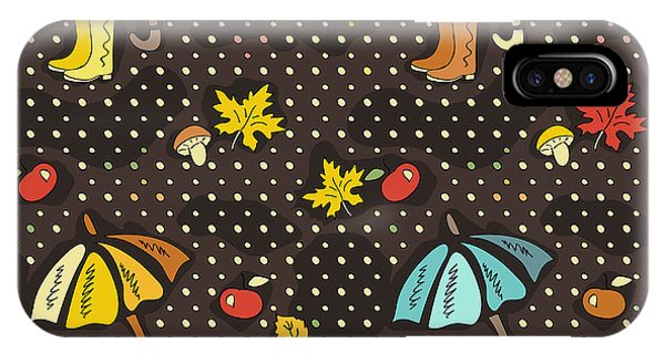 Parasol iPhone Case - Fall Doodle Wallpaper. Autumn Seamless by Anton Malina