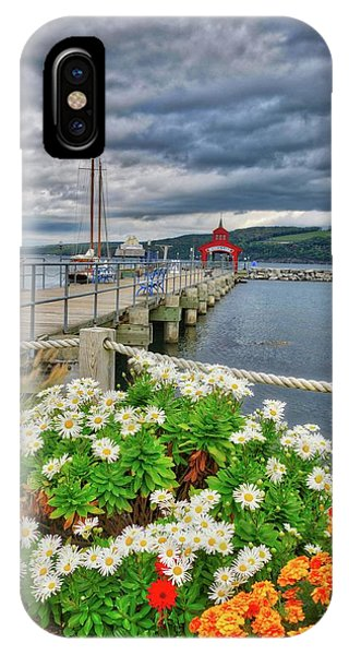 IPhone Case featuring the photograph Fall Flowers At Seneca Lake Marina by Lynn Bauer