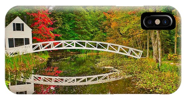 Fall Footbridge Reflection IPhone Case