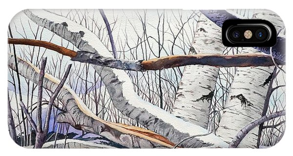 Fallen Birch Trees After The Snowstorm In Watercolor IPhone Case